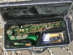 Green Alto Sax Brand New STERLING Eb Saxophone Case and Accessories