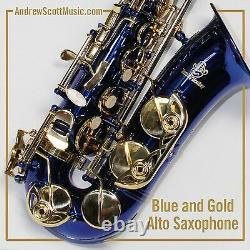 New Blue and Gold Alto Saxophone in Case Suitable for both Professionals Age 9
