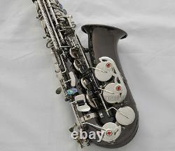 Prof. Black Nickel Alto Saxophone Eb Sax Abalone Shell High F With Case 10x Reed