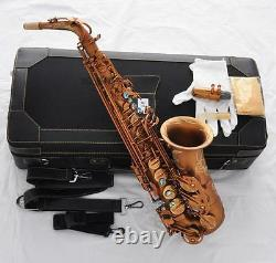 Professional Eb Alto Sax Matte Coffee Saxophone Beautiful hand engraved bell New