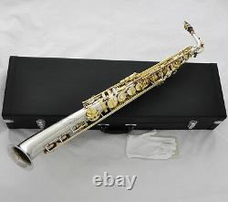 Professional JINBAO Straight Eb Alto Saxophone Silver/Gold curved bell sax +Case