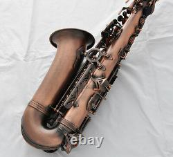 Professional Red Antique Alto Saxophone Rolled Note Hole Sax Double arm bars NEW