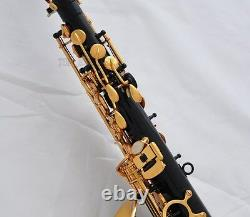 TOP QUALITY Black Gold Bell Alto Saxophone Eb Sax High F# With 10pc Reed Case
